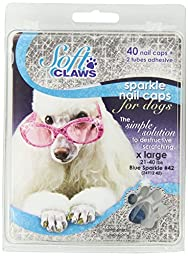 Soft Claws Dog and Cat Nail Caps Take Home Kit, X-Large, Sparkle Blue