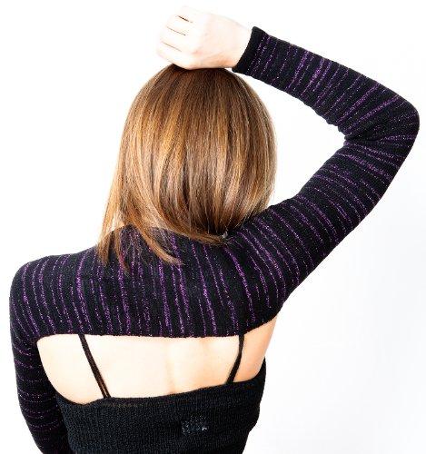 Stretch Knit Bolero by KD dance de Nueva York diseñado para Dancers by Dancers Total Libertad de movimientos Líneas de Sharp Negro Y Raya De Plata Metálica