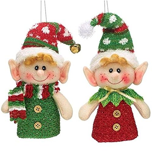 plush hanging christmas elf ornaments set of 2 in red and green