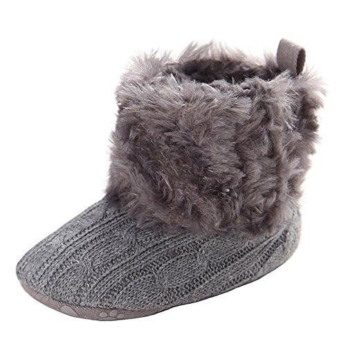 Annnowl Baby Girls Knit Soft Fur Winter Warm Snow Boots Crib Shoes 0-18 Months (12-18 Months, Grey)