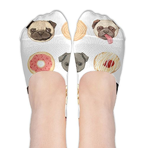 Pugs Chocolate Chip Cookie Womens Low Cut Socks No Show Liner Boot Sock Athletic Socks Thin Fit