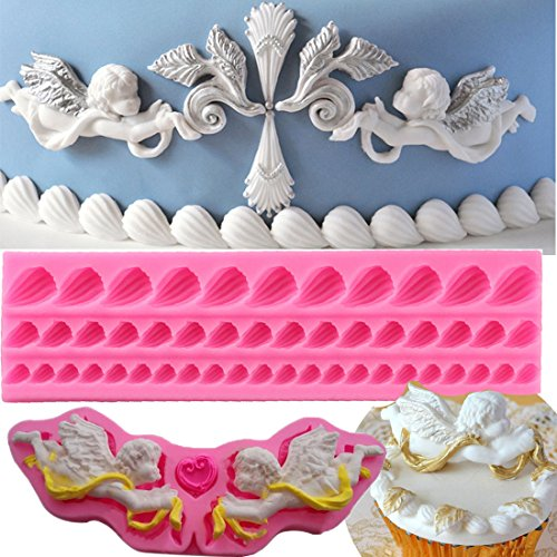 Baby Cherub (Anyana shell conch long border line fairy Angel Baby Angelic Cherub mould cake Fondant gum paste mold for Sugar paste gumpaste designer cupcake decorating topper decoration sugarcraft decor set of 2)