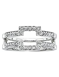 Silver Gems Factory Solitaire Enhancer Round Simulated Diamonds Ring Guard Wrap 14k White Gold Plated Wedding Halo