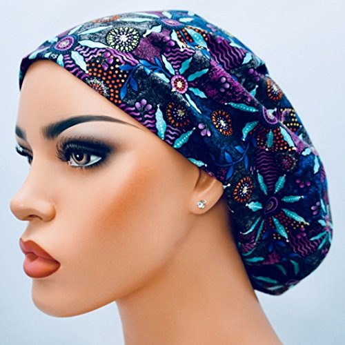 Adjustable Hipster (DK Scrub Hats Women's Adjustable Bouffant Surgical Ponytail Cap Purple Blue Floral)
