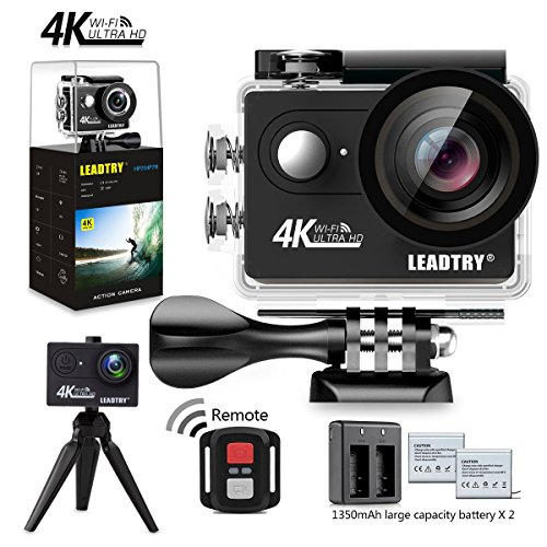 LeadTry HP7R Full 4K HD Action Camera Wifi, Mini 12MP Underwater Photography Cam, 100Ft Waterproof Sport Video Camcorders, 170Deg Wide Angle Lens Recording DV with 2 Batteries (1350mAh) 26 Accessories