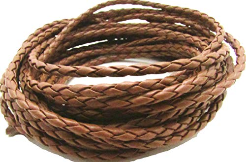 Gozillon 4.0mm Round Folded PU Leather Cords for Bracelet Necklace Jewelry Making 5 Meters (Brown)