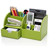 KINGOM™ 7 Storage Compartments Multifunctional PU Leather Office Desk Organizer,Desktop Stationery Storage Box Collection, Business Card/Pen/Pencil/Mobile Phone /Remote Control Holder Desk Supplies Organizer (Green)