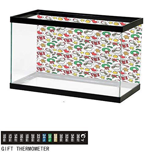 bybyhome Fish Tank Backdrop Christmas,Wreath Candy Cane Snowman,Aquarium Background,48
