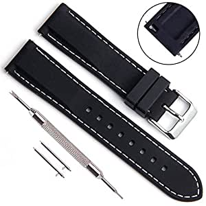 Silicone Rubber Divers Sport Replacement Watch Band Strap (Choice of Buckle) 18mm 20mm 22mm 24mm for Men and Women