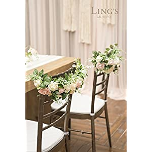Ling's moment Nearly Natural Rose and Peony Spring Blooms Chair Banners Wedding Arch Wedding Chair Decoration Centerpiece Silk Flower Arrangement, Mixed Flower(Pack of 2) 3