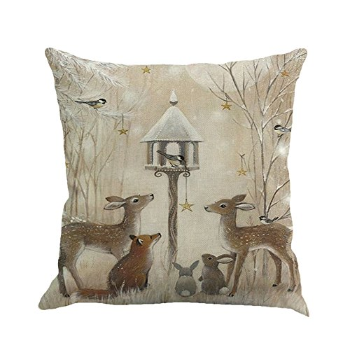 Rambling New Christmas Pillow Covers, Christmas Printing Dyeing Sofa Bed Home Decor Pillow Cover Cushion Covers Square 18