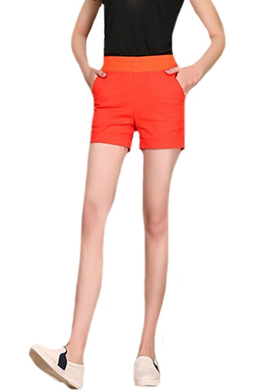 YUNY Womens Elastic Waist Straight Casual Shorts