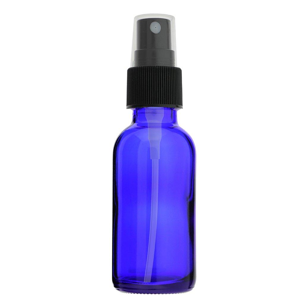 144-PIECE 1 OZ 30 ML BOSTON ROUND COBALT BLUE EMPTY GLASS BOTTLE WITH FINE MIST BLACK PLASTIC SPRAYER (Dispenser Atomizer Essential Oils, Chemistry Lab Chemicals, Colognes & Perfumes)