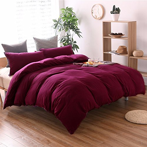 THEE 3 Piece Solid Color Wine Red Quilt Cover Bedding Duvet Cover Set(Queen)