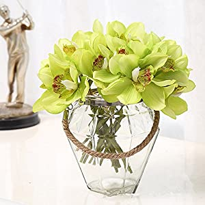 06 Pcs Orchid Artificial Flowers for Decoration Real Touch Cymbidium Artificial Silk Orchid Flower Arrangements Orchid Table Decoration Flower DIY Wedding Bride Hand Flowers Home Decor (Light Green) 49