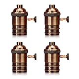 Homestia E26/E27 Medium Light Socket Copper Shell Edison Retro Pendant Lamp Holder Retro Style Fixture Replacement with Turn Knob 4 Pack, Rose