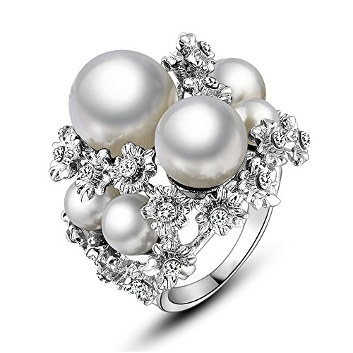 Mytys Gorgeous White Pearls and Crystals Cluster Finger Rings for Women(9)