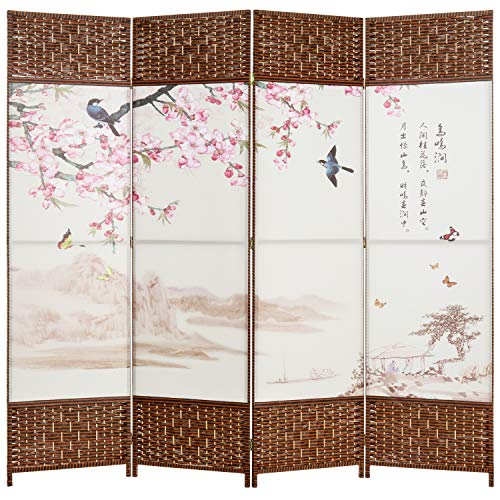 MyGift Asian Cherry Blossom Wood Frame Oil Cloth Painting Room Divider
