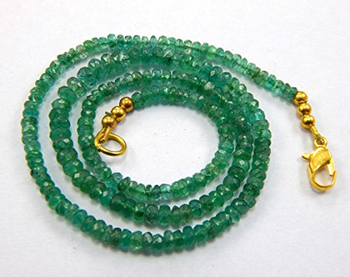 [1 Strand AAA Quality Natural Untreated Micro Faceted Emerald Bead Necklace 16.5'' Christmas Sale.] (Necklace Love Beads)