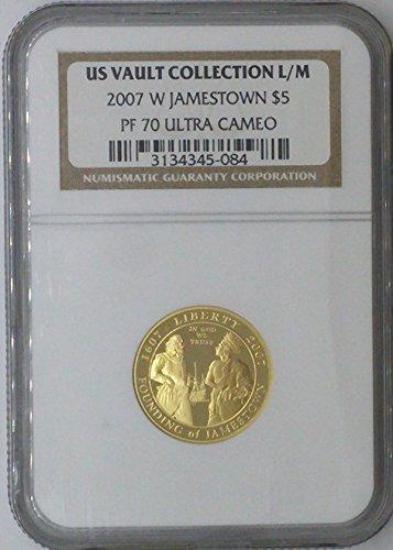 1999 W Commemorative Set $5.00 MS-70 NGC US Vault Collection 22k $5 - Jamestown - NGC PF 70 Ultra Cameo ()