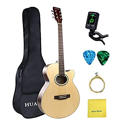 HUAWIND 38 inch Basswood Cutaway Acoustic Steel Strings Guitar Starer Kit with Gig Bag, Tuner, Strings, Strap,Picks and Polishing Cloth