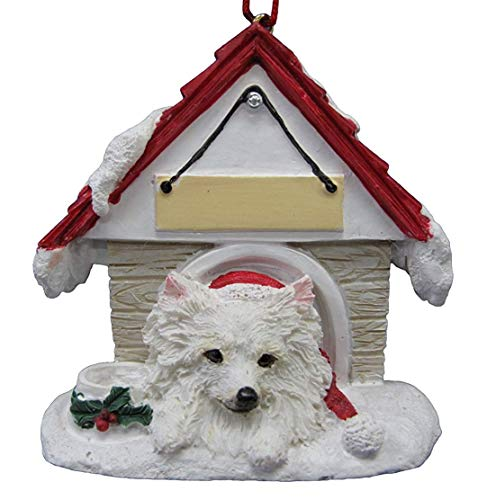(Doghouse Ornament - American Eskimo Personalized Christmas Tree Ornament with Magnet (Magnetic)