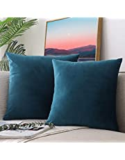 CCRoom Cushion Covers,Pack 2 of 45cm x 45cm Decorative Throw Pillow Cases in Velvet Square with Concealed Zip(Peacock Blue)