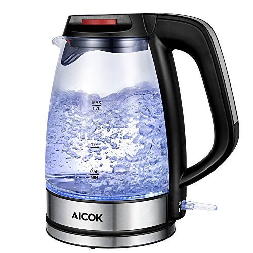 Electric Kettle Aicok, 1.7 Liter Fast Heating Glass Tea Kettle Tea Pot Cordless with LED Indicator Light,  Strix Thermostat, BPA Free, 1500W