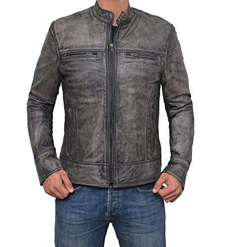 Decrum Motorcycle Jacket Mens - Vintage Cafe Racer Retro Distressed Moto Leather Jacket
