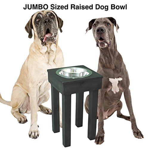 JUMBO Raised Dog Bowl for Extra Large Dogs from OFTO with 5 quart stainless steel bowl by Ozarks Fehr Trade Originals, LLC
