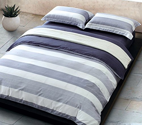 Cabana Stripe Modern Duvet Cover 100-Cotton Twill Bedding Set Geometric White and Navy Distressed Rugby Stripes Print in Dusty Blue Shades Reversible (Queen, Navy) (Cotton Twill Cover)