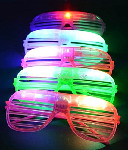NaRaMax 12 Pack LED Sunglasses Glow Glasses LED Flashing Futuristic Rave Glowing Shades Rave Party