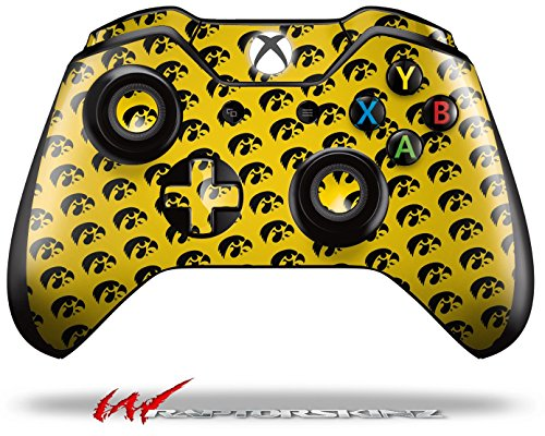 Iowa Hawkeyes Tigerhawk Tiled 06 Black on Gold - Decal Style Skin fits Microsoft XBOX One Wireless Controller