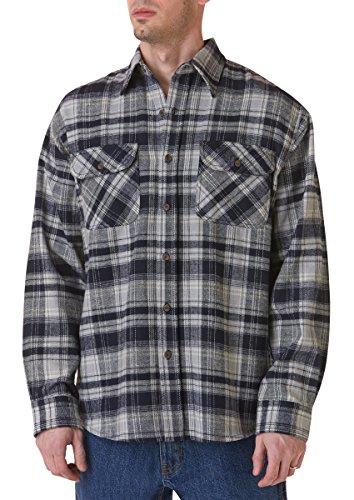 Teflon Men's Apparel LS Brawny Plaid Flannel Shirt, Large, Grey Blue ()