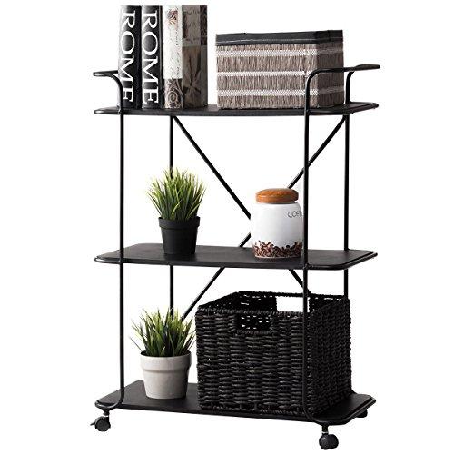 Brass 24' Glass Shelf (3 Tier Metal Rolling Cart Storage Rack Shelves Display Utility Organizer Black)