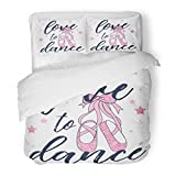 SanChic Duvet Cover Set Girl Love to Dance Ballerina Pink Shoes Cute Graphic Bunny Beauty Decorative Bedding Set Pillow Sham Twin Size