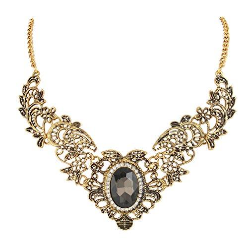 BriLove Statement Necklace for Women Vintage Inspired Floral Scroll Oval Crystal Statement Necklace Grey Black Antique Gold-Toned