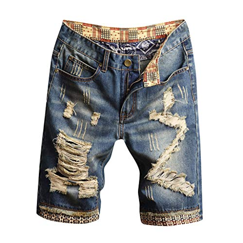Hunauoo Mens Releases Cargo Shorts Loose and Recreational Break Hole Drape Inside Turn Over Decorative Pattern Bull-Puncher Pant Blue -