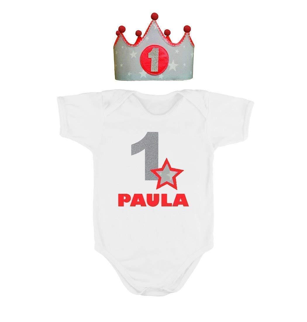 Corona + Body o Camiseta personalizada nombre primer cumpleañ os 1 añ o para niñ as rojo