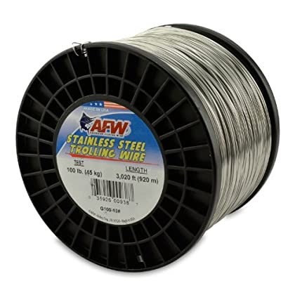 Image of American Fishing Wire Stainless Steel Trolling Wire, 100-Pound Test/0.89mm Dia/920m Lead Core & Wire Line