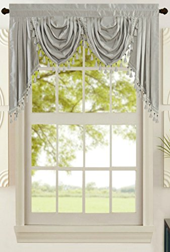 All American Collection New Attached Solid Faux Silk Double Waterfall Valance with Tails - New Window Valance