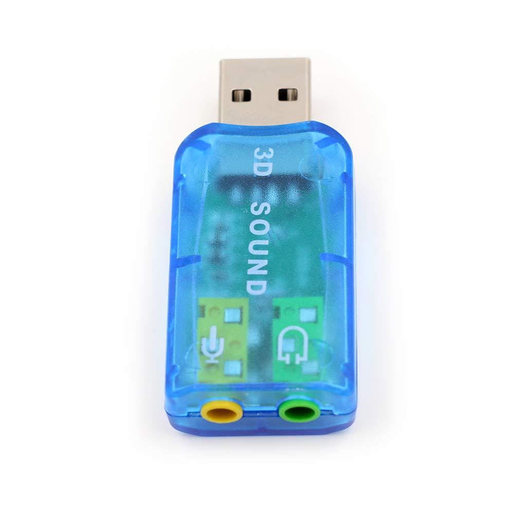no Necesita Controladores Azul Adaptador de Audio y Tarjeta de Sonido USB con Altavoz de 3,5 mm y Clavijas de micr/ófono para Windows y Mac Plug and Play ZUKABMW