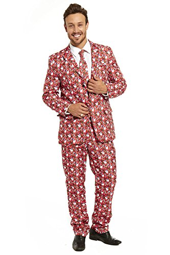 YOU LOOK UGLY TODAY Mens Christmas Suit Party Funny Ugly Novelty Xmas Jacket Costume Santa Pattern (Funny Santa Costumes)