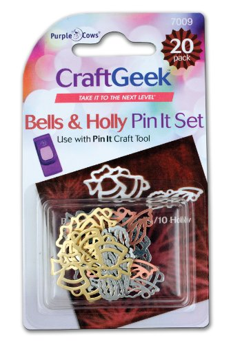 Purple Cows Craft Geek Pin It Scrapbooking Set, Bells and Holly Pins