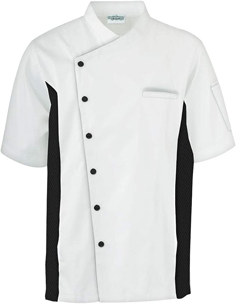 Mens Chef Coat with Mesh Sides Panels XS-3X, 6 Colors