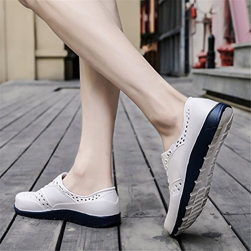 Large New Casual Hollow Shoes HUAN Color Blue Breathable Shoes Shoes Black Sandals Size Red Men's White Summer Lightweight Beach Out Size White 42 PttvwWqYx