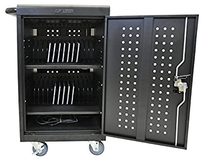 DMD Deluxe Mobile Charging and Storage Cart - Stores up to 30 Devices - Multiple iPad, Tablet, Laptop and Notebook Charging Station/Security Cabinet - Locking Cabinet with Set of Two Keys