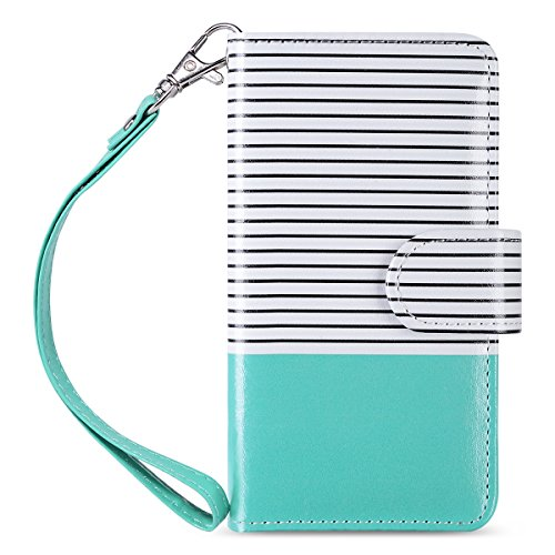 iPod touch 6 Case, iPod Touch 6 Wallet Case,ULAK Premium PU Leather Wallet Case with Kickstand Card Holder ID Slot and Hand Strap Shockproof Cover for iPod Touch 5/6th Gen, Minimal Mint Stripes - Ipod Touch Premium Silicone