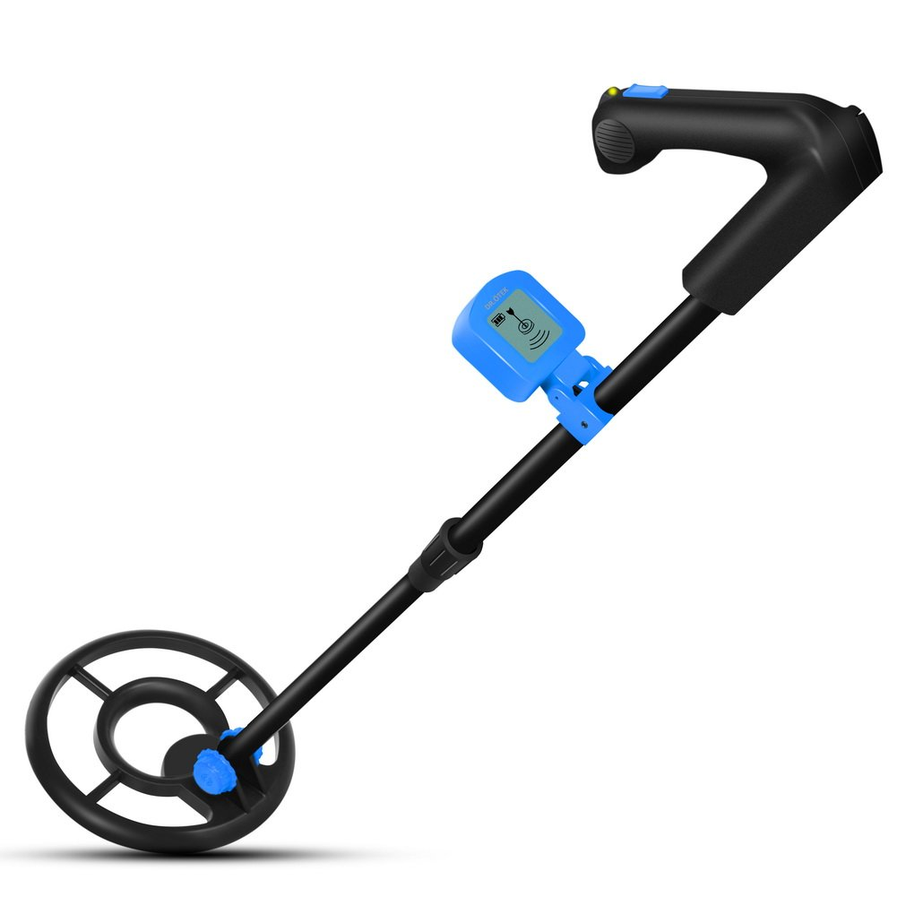 DR.ÖTEK Easy to Operate Metal Detector for Kids and Beginners with LCD Display, LightWeight, Sound Mode, Detects Coins, Jewelry, Artifacts, Perfect Gifts for Junior, Accessories Include Shovel and Battery -Blue/Black