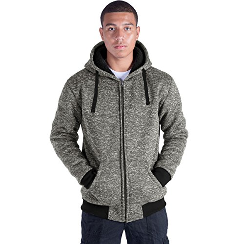 (Eurogarment Plus Size S-5XL Marled Fleece Hoodie for Men Heavyweight Sherpa Lined Full Zip Up Big&Tall Long Sleeve Winter Jacket Coat(Olive, XL))